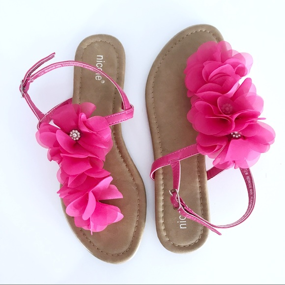 Nicole shoes hot pink flower rhinestone sandals poshmark nicole hot pink flower rhinestone sandals mightylinksfo